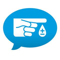 Etiqueta tipo app azul comentario simbolo analisis de sangre