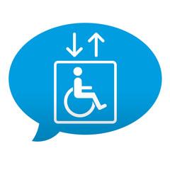 Etiqueta tipo app azul comentario ascensor para minusvalidos