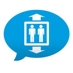 Etiqueta tipo app azul comentario simbolo ascensor