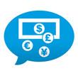 Etiqueta tipo app azul comentario simbolo cambio de divisas
