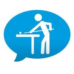 Etiqueta tipo app azul comentario simbolo billar