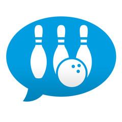 Etiqueta tipo app azul comentario simbolo bolera