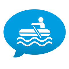 Etiqueta tipo app azul comentario simbolo bote hinchable