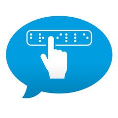 Etiqueta tipo app azul comentario simbolo braille