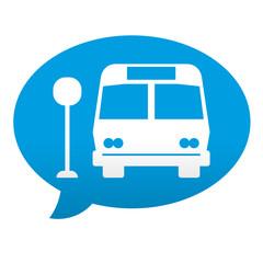 Etiqueta tipo app azul comentario simbolo bus stop