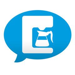 Etiqueta tipo app azul comentario simbolo cafetera electrica