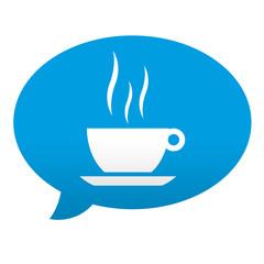 Etiqueta tipo app azul comentario simbolo taza de cafe