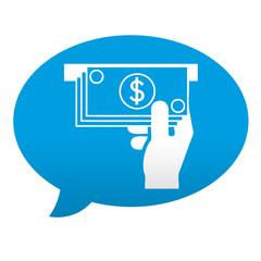 Etiqueta tipo app azul comentario simbolo cajero automatico