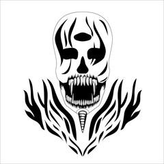 Decorative design Vector skull devil three eyes banner