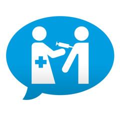 Etiqueta tipo app azul comentario campaña de vacunacion