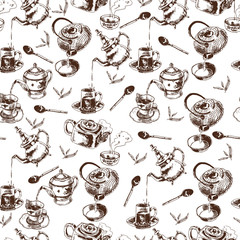 Teapot and cups seamless pattern