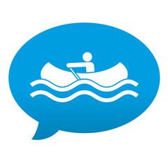 Etiqueta tipo app azul comentario simbolo canoa