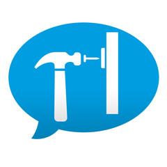 Etiqueta tipo app azul comentario simbolo carpinteria
