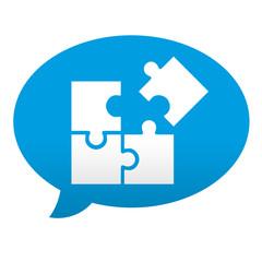 Etiqueta tipo app azul comentario simbolo estrategia
