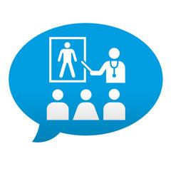 Etiqueta tipo app azul comentario facultad de medicina