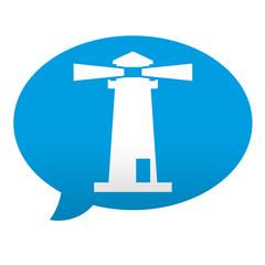 Etiqueta tipo app azul comentario simbolo faro