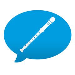 Etiqueta tipo app azul comentario simbolo flauta