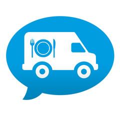 Etiqueta tipo app azul comentario furgoneta de catering