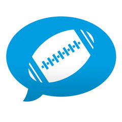 Etiqueta tipo app azul comentario simbolo futbol americano