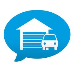 Etiqueta tipo app azul comentario simbolo garaje