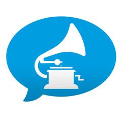 Etiqueta tipo app azul comentario simbolo gramofono