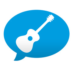 Etiqueta tipo app azul comentario simbolo guitarra clasica