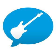 Etiqueta tipo app azul comentario simbolo guitarra electrica