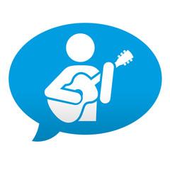 Etiqueta tipo app azul comentario simbolo guitarrista