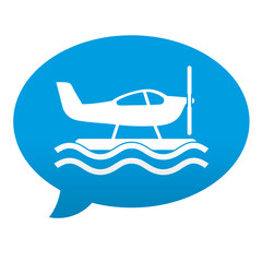 Etiqueta tipo app azul comentario simbolo hidroavion