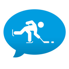 Etiqueta tipo app azul comentario hockey sobre hielo