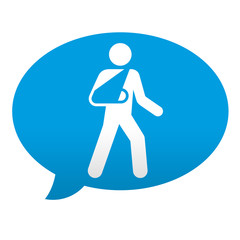 Etiqueta tipo app azul comentario hombre con brazo roto