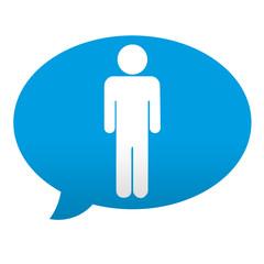 Etiqueta tipo app azul comentario simbolo hombre
