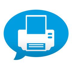 Etiqueta tipo app azul comentario simbolo impresora