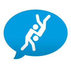 Etiqueta tipo app azul comentario simbolo judo