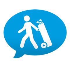 Etiqueta tipo app azul comentario jugador de golf
