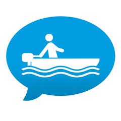 Etiqueta tipo app azul comentario simbolo lancha motora