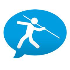 Etiqueta tipo app azul comentario lanzamiento de jabalina