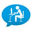 Etiqueta tipo app azul comentario simbolo cibercafe