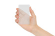 Hand holds transparent card on white background .