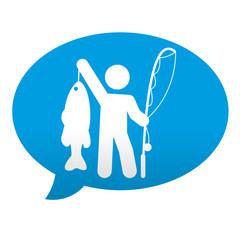 Etiqueta tipo app azul comentario simbolo pescador con pez