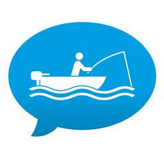 Etiqueta tipo app azul comentario simbolo pescador en bote