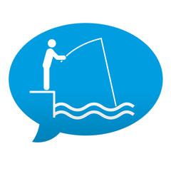 Etiqueta tipo app azul comentario simbolo pescador