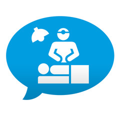 Etiqueta tipo app azul comentario simbolo quirofano