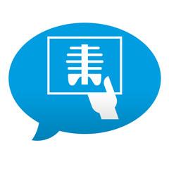 Etiqueta tipo app azul comentario simbolo radiografia