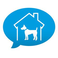Etiqueta tipo app azul comentario simbolo residencia canina