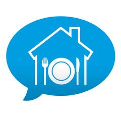 Etiqueta tipo app azul comentario simbolo restaurante