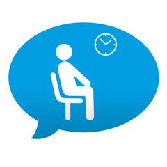 Etiqueta tipo app azul comentario simbolo sala de espera