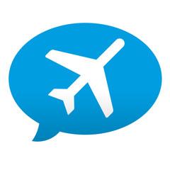 Etiqueta tipo app azul comentario simbolo avion