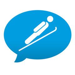 Etiqueta tipo app azul comentario simbolo salto de esqui