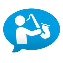 Etiqueta tipo app azul comentario simbolo saxofonista
